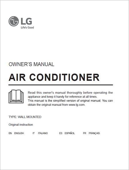 Manual usuario Aire Acondicionado Split LG